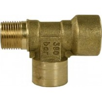 "Brass T-Connection 3/8""M 3/8""F 1/4""F"