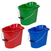 Vikan 12L plastic bucket with strainer